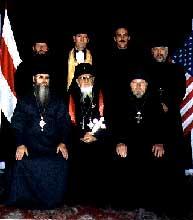 Фото 7. «Духовенство» БАП(Н)Ц. В первом ряду слева направо: «епископ» Петр Гуща, «архиепископ» Юрий Рыжий, «протоиерей» Леонид Акалович